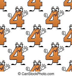 Seamless pattern with cartoon numbers four