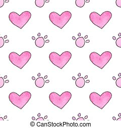 Seamless pattern with cartoon paws and hearts. Hand-drawn background. Vector illustration.