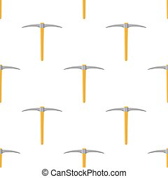 Seamless pattern with cartoon pickaxe on white background. Gardening tool. Vector illustration for any design.