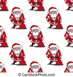 Seamless pattern with cartoon Santa Claus