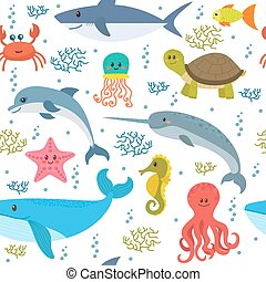 Seamless pattern with cartoon sea life animals. Underwater background