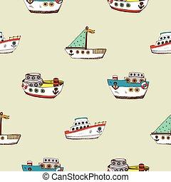 Seamless pattern with cartoon ship