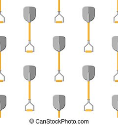 Seamless pattern with cartoon shovels on white background. Garden spade. Gardening tool. Vector illustration for any design.