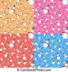 Seamless pattern with cartoon snowman in vector