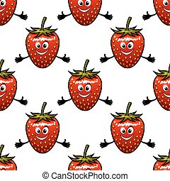 Seamless pattern with cartoon strawberry