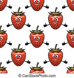 Seamless pattern with cartoon strawberry