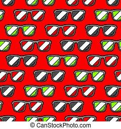 Seamless pattern with cartoon sunglasses.