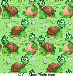 Seamless pattern with cartoon turtles on a green meadow with...