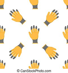 Seamless pattern with cartoon yellow rubber gloves on white background. Gardening tool. Vector illustration for any design.