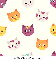Seamless pattern with cat faces. Vector illustration, flat design.