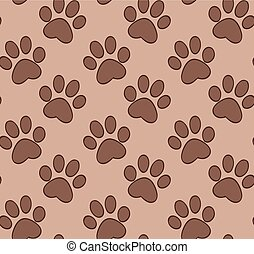 Seamless pattern with cat's and dog's paw