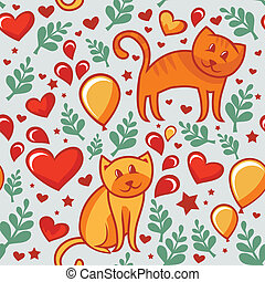 seamless pattern with cats in love  - vector illustration