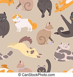 Seamless pattern with cats of various breeds. Backdrop with purebred pet animals in different postures. Colorful vector illustration in flat cartoon style for wrapping paper, textile print, wallpaper.