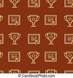 Seamless pattern with certificate and awards.