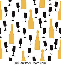 Seamless pattern with champagne bottle and glasses