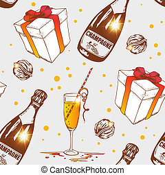 Seamless pattern with champagne