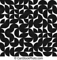 Seamless Pattern With Chaotic Semicircles. Abstract Irregular Retro Background.