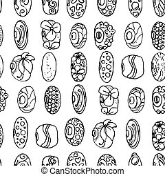 Seamless pattern with charms and beads for bracelet. Endless texture. Black and white.