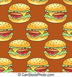 Seamless pattern with cheeseburgers