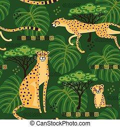 Seamless pattern with cheetahs, leopards in the jungle. Repeated exotic wild cats in the background of the savannah. Vector stylized travel illustration