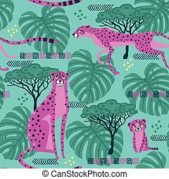 Seamless pattern with cheetahs, leopards in the jungle. Repeated exotic wild savanna cat. Vector stylized illustration in bright pink and turquoise color