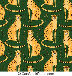 Seamless pattern with cheetahs, leopards. Repeated exotic wild cats on a green background. Vector illustration