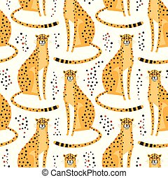 Seamless pattern with cheetahs, leopards. Repeating exotic wild cats on a white background. Vector illustration