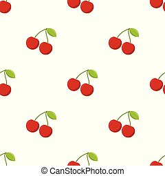 Seamless pattern with cherry on white background