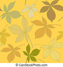 Seamless pattern with chestnut leaves