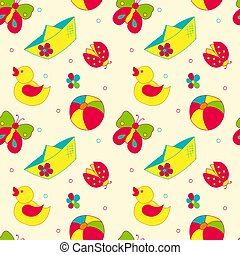 seamless pattern with children's toys on a light background