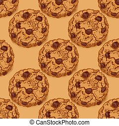 Seamless pattern with chocolate chip cookies - Seamless...