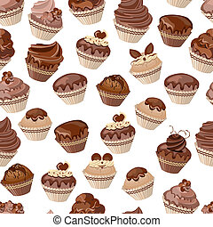 Seamless pattern with chocolate cupcakes
