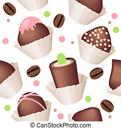 Seamless pattern with chocolate sweets and coffe beans