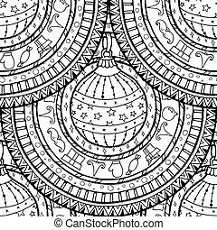 Seamless pattern with Christmas ball on mandala.