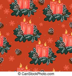 Seamless pattern with christmas candles on a red background
