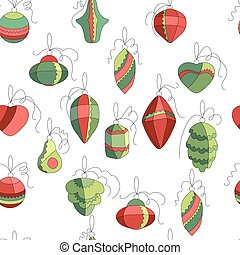 Seamless pattern with  Christmas decor on white. Simple colors.