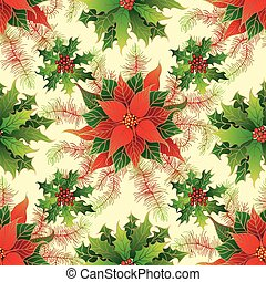 Seamless pattern with Christmas decorations.
