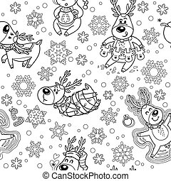 Seamless pattern with Christmas deers in outline