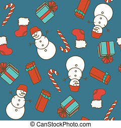 Seamless pattern with Christmas ele