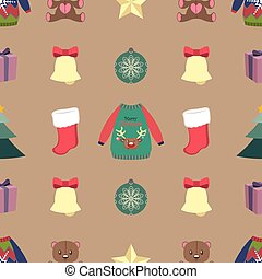 Seamless pattern with Christmas elements on light background