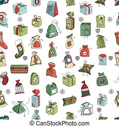 Seamless pattern with Christmas gift boxes on white. Simple colors.