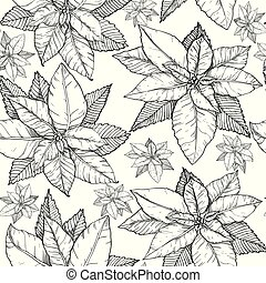 Seamless pattern with Christmas poinsettia flowers. Black and white.
