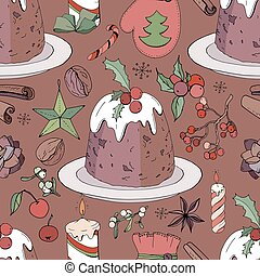 Seamless pattern with christmas pudding and decoration. ...
