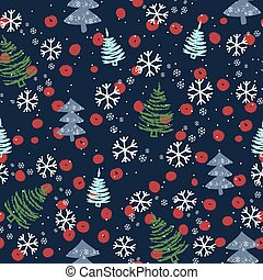 Seamless pattern with Christmas trees and snow