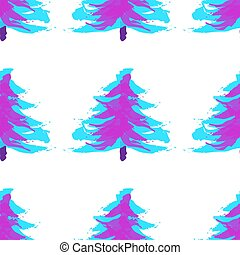 Seamless pattern with Christmas trees in neon color. Xmas tree hand drawn, template for new year greeting card or packaging decoration holiday - Vector