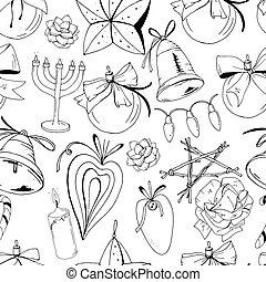 Seamless pattern with christmas vintage decoration. New year retro symbols on white. Black and white, contour, hand drawn. Endless texture for festive season design.