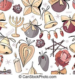 Seamless pattern with christmas vintage decoration. New year retro symbols on white. Gold,brown and dark red color, contour, hand drawn. Endless texture for festive season design.