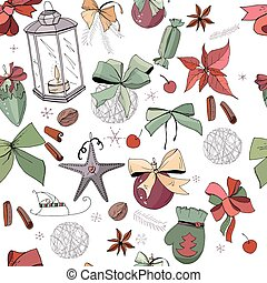 Seamless pattern with christmas vintage decoration. New year retro symbols on white. Green,brown and dark red color, contour, hand drawn. Endless texture for festive season design.