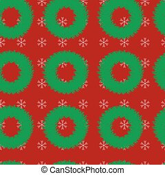Seamless pattern with Christmas wreaths and snowflakes on a red background