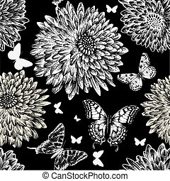 Seamless pattern with chrysanthemums and butterflies, hand...